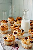 Blackberry muffins with slivered almonds around a bottle of milk