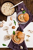 Cream of mushroom soup in bowls made out of bread rolls