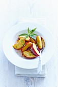 Peaches with lemon verbena and syrup