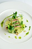 Fish terrine with beans and cucumber strips