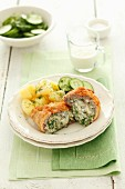 Rolled pork stuffed with Gorgonzola and herbs