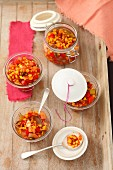 Sweetcorn chutney with peppers and celery
