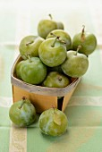 Greengages in a punnet
