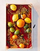 Verschiedene Zitrusfrüchte in Kiste