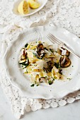 Ribbon pasta with courgette, lemon and parmesan