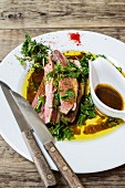 Duck breast with herbs and jus