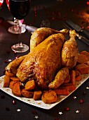Capon with sweet potatoes for Christmas dinner