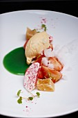 Strawberry Charlotte with Thai basil sauce and celeriac sweets