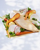 Champagne chicken with spring vegetables