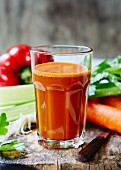 Vegetable juice made from carrots, pepper and celery