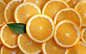 Lots of orange slices (seen from above)