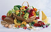A shopping basket overflowing with healthy foods