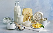 Assorted milk products, butter and cheese