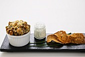 Wholemeal bread pudding with chive quark