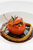 Stuffed tomato with lentil salad