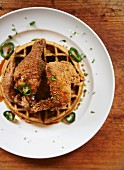 Fried Chicken and Waffles with Bourbon Maple Syrup and Jalapenos