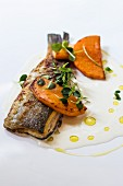 Grilled trout with pumpkin and butter sauce
