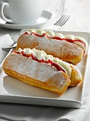 Doughnut filled with jam and cream