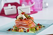 Smoked cod millefeuille with tomato jelly and black olives sauce