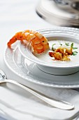 Parsnip soup with a langoustine