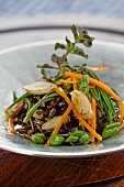 Wild rice with carrots and thistles