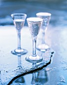Three glasses of schnapps with water droplets