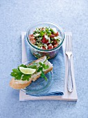 Cucumber and tomato salad with shallots