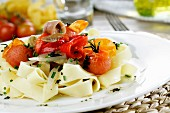 Tagliatelle with grilled vegetables and olive vinaigrette