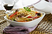 Fried noodles with beef and vegetables (Asia)
