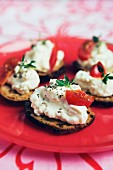 Sandwiches with sliced tomato and cream cheese, Sweden.