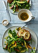 Avocado and thyme salad with goat's cheese bruschetta