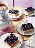 Blueberry cassata slices with coffee