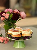 Sweden, Stockholm, Bromma, cupcakes with cream on cakestand