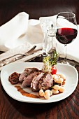 Duck breast with kopytka (potato dumplings, Poland)