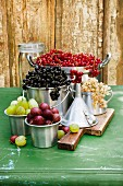 A still life of currants and gooseberries in assorted aluminium containers, with a funnel and a storage jar