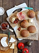 Bread rolls with ham, cheese and sundried tomatoes