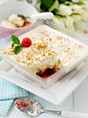 Trifle with raspberries, sherry and mint, one portion served