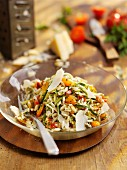 Risoni salad with courgette, tomatoes and parmesan