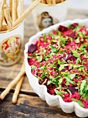 Beetrootsalad on a smorgasbord, Sweden.