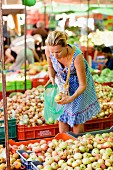 A Scandinavian woman in a market, Cyprus.