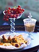 Grapes and sugar on a tray.