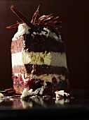 A slice of Black Forest gateau, made with fruit preserved in rum