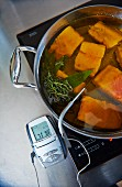 Salmon in olive oil with a thermometer