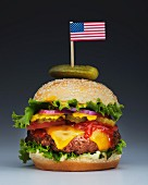 Burger with US flag