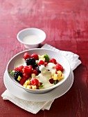 Fruit salad with zabaglione sauce