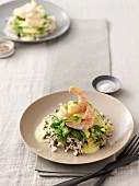 Langoustines with saffron sauce, mange tout and white & wild rice