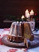 Marble Bundt cake with icing sugar, for Christmas