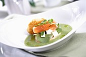 Watercress soup with salmon and cream cheese