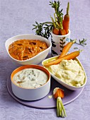 Carrots with assorted dips