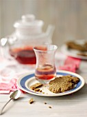 Tea biscuits and raspberry tea